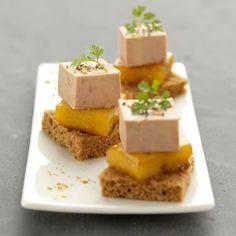 Bouchées de Foie Gras fermier des Landes à la mangue caramélisée