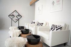 Ikea Pillow - Sheepskin Rug - Nail Salon - Spa Interiors - Hospitality Design