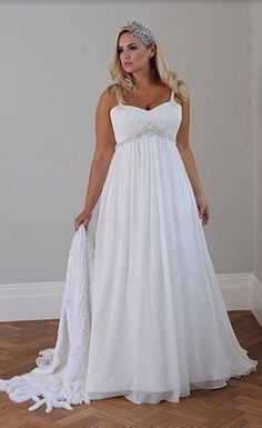 New A-Line Court Train Chiffon Plus Size Wedding Dress