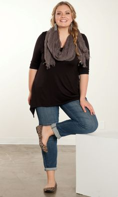 Because every woman needs a basic top in a classic color to take her from day to night. Our Polly Top is a classic shape in soft, jersey knit. Throw it on for quick style or dress it up! Ballet flats and a scarf with style add polish to this casual look