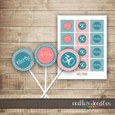 Chevron Cupcake Toppers 21st / 30th / 40th / 50th by OandD on Etsy, $8.00
