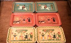 Check out this item in my Etsy shop https://www.etsy.com/listing/259554038/6-vintage-social-supper-trays-colorful