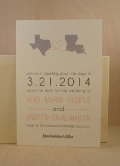 Wedding Save the Date Postcard / Digitally Printed by Darby Cards / Love from Two States / Modern / Party / Texas / Louisiana
