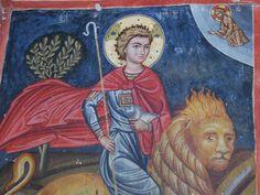Св. Мамант на льве (фрески церкви Тимиу Ставру ту Агиасмати близ села Платанистаса).