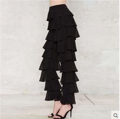 Women's Casual Loose Pleated Ruffle Flared Pants Party Chiffon Trousers Stylish  #Unbranded #Cargo