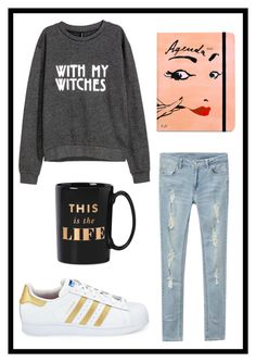 """#617 this is the life"" by xjet1998x ❤ liked on Polyvore featuring H&M, Kate Spade and adidas"