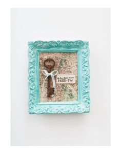 Paris Map Skeleton Key Art in Verdigris Frame. $30.00, via Etsy.