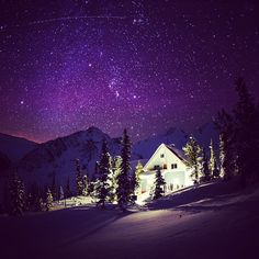 """""""A starry night at the Sorcerer Lodge, Northern Selkirks, BC. Photo by @G Grove """""""