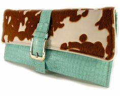 cow hide and terquoise clutch
