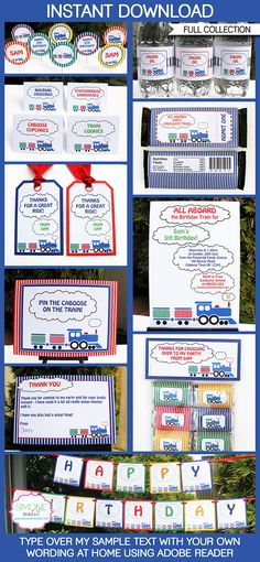 Train  Party Printables, Invitations & Decorations   Editable Birthday Party…