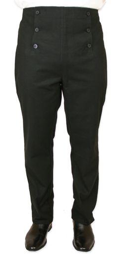 Victorian Mens Black Cotton Blend Solid Dress Pants   Dickens   Downton Abbey   Edwardian    Regency Fall Front Trousers - Black