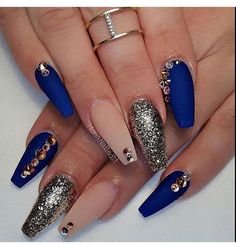 Royal blue + nude nails #glitter