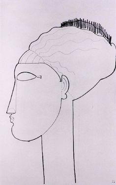 Amedeo Modigliani - Modern Art - Drawing, Study - Caryatide, tête de profil gauche.