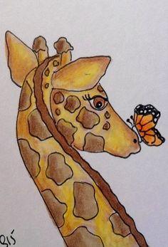"Aceo  Original  ATC OOAK    ""GIRAFFE'S NEW FRIEND""   pencil/ink  #OutsiderArt"