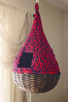 Hanging Cat Nest - Bright Red and Navy Blue - Round Teardrop Bed - Hand Crocheted - Ready to Ship