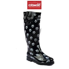 Cotswold Dog Paw Wellington Black These wellies are great for farming, gardening, festivals or any day out on muddy ground. Adjustable Buckle And Gusset Dog Paw Print Waterproof Wellies All Weather Cleated Rubber Sole Cotton Lined Only £24.99
