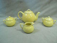 Vintage Lipton's Tea Set, Teapot, Creamer, 2 Sugar Bowls, Lemon Yellow Tea Pot Set, Pot Sets, Lipton, Cooking Gadgets, Lemon Yellow, Teapots, Old Things, Sugar, Gifts