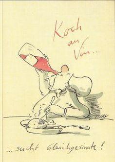 Gaymann Shop   Peter Gaymann Briefkarte Koch au Vin   Peter Gaymann