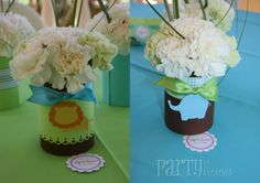 centerpiece idea and Safari Baby Shower