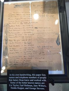 Dean's own handwritten phone numbers of his may Hollywood friends.