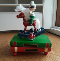 Working Vintage Rocking Horse Christmas Wood Wind Up Music Box