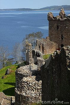 Urquhart Castle located on the shore of Loch Ness in Scotland