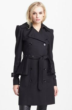 BCBGMAXAZRIA Double Breasted Peplum Trench Coat available at #Nordstrom