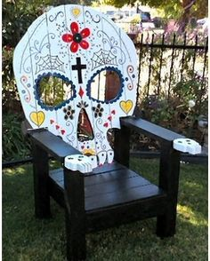 Happy Halloween from Contemporary Classics & More! Check out this great sugar skull hand crafted patio chair we love the design! #HappyHalloween #MelbourneFL #SpaceCoastFL #HalloweenDecorations #HolidayDecorations #Halloween http://ift.tt/2eJxQJB