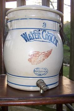 VINTAGE RED WING UNION STONEWARE 3 GALLON WATER COOLER                                   **** Antique Crocks, Old Crocks, Antique Stoneware, Stoneware Crocks, Or Antique, Antique Items, Red Wing Pottery, Antique Pottery, Pottery Art
