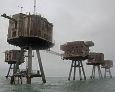 Built on the Thames and Mersey estuaries during the 1940s, the Maunsell sea forts (named after their creator, Guy Maunsell) served to deter and report German air raids.