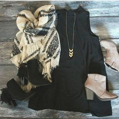 such a cute outfit paired with a plaid oversized blanket scarf