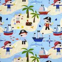 Pirates Theme Wallpaper #skaffgroup #skafflebanon #skafffabrics #skaffinteriors #wallpaper #wallcovering #kidsbedroom #pirates #adventures