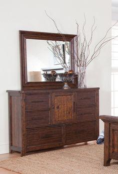 Kittredge Ranchero Acacia Rubberwood Solids Veneers Dresser And Mirror