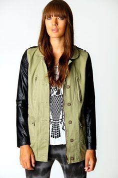 Ruth Military Coat With PU Sleeves £30 >> http://www.boohoo.com/invt/azz60558/?cm_sp=wear_with_peerius-_-product_detail_azz60558