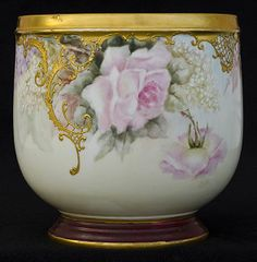 Antique Limoges Jardiniere/Planter dated Xmas 1898 from harborhousecollection on Ruby Lane