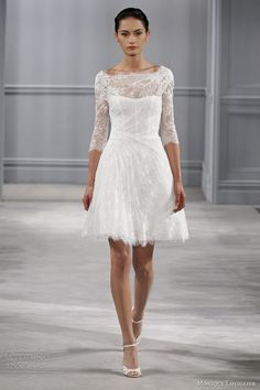 monique lhuillier bridal spring 2014 vignette short wedding dress sleeves