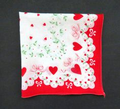 Vintage Valentine Handkerchief - Red Hearts White Bows - Sweetheart Love Romance Wedding Bride Accessories - Collectible - Arts Crafts