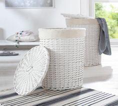 Weißer Wäschekorb, rund, 2er Set