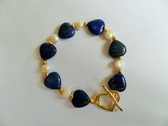 Lapis lazuli heart bracelet with white by CoastalMoonJewellery