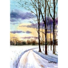 Watercolor landscape Painting PRINT country road snow Winter seasons trees Landscape sunset lane forest 7x10 GICLEE