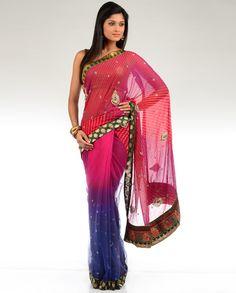 Ombre Shaded Sari with Laheriya Pallu