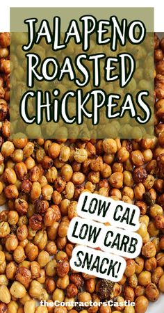 Vegan spicy roasted chickpeas with roasted jalapenos are delish, super easy and quick to make in the Air Fryer! Perfect snack for your taste buds! Appetizers For A Crowd, Easy Appetizer Recipes, Healthy Appetizers, Healthy Snacks, Chickpea Recipes, Veggie Recipes, Snack Recipes, Ww Recipes, Roasted Jalapeno