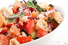 This mouth-watering salad will be a hit with family and friends and is a great meal for all seasons. Fruit Salad, Cobb Salad, Bread Salad, Toscana, Garlic Bread, Pasta Salad, Potato Salad, Meals, Ethnic Recipes