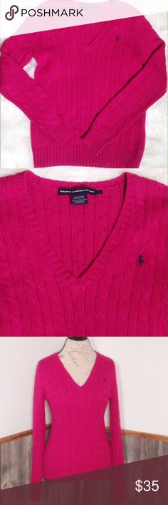 """Ralph Lauren Sport V-Neck Cable Sweater Great condition minimal piling if any and no flaws or stains.  Fushia/pink with navy logo.  Underarm to underarm is approx 18""""flat across front, length is approx 24.5"""", and sleeves are approx 26"""".  100% cotton.  Smoke and pet free home. Ralph Lauren Sweaters V-Necks"""