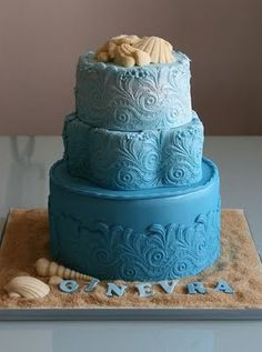 ombre blue beach cake with faux sand
