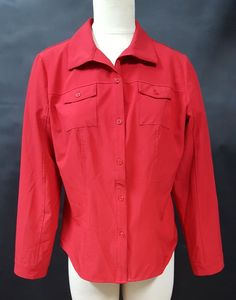 eac19ae3555 Chicos Red Shirt Size 1 Medium Flap Pockets Button Front Long Sleeve Career  #Chicos #