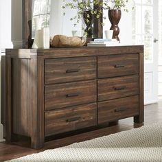 Shop for Wire Brushed Six Drawer Solid Wood Dresser in Brick Brown. Get free…