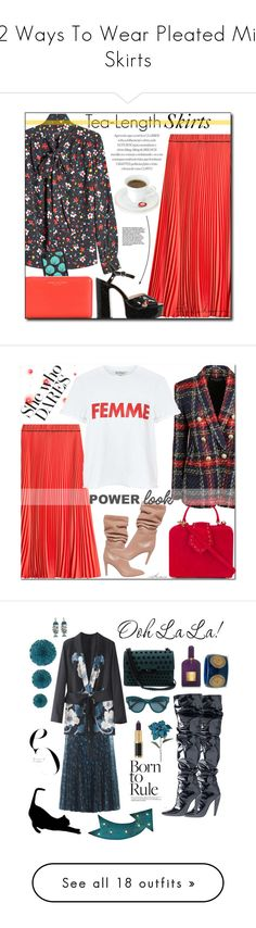 """12 Ways To Wear Pleated Midi Skirts"" by polyvore-editorial ❤ liked on Polyvore featuring waystowear, pleatedmidiskirts, Marc Jacobs, Casetify, Gianvito Rossi, Balmain, Miss Selfridge, Mehry Mu, red and girlpower"