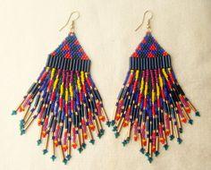 beautiful double fringe seed bead earrings