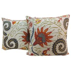 Pair of Antique Suzani Textile Pillows. | From a unique collection of antique and modern pillows and throws at https://www.1stdibs.com/furniture/more-furniture-collectibles/pillows-throws/